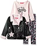 Betsey Johnson Toddler Girls' 3 Pc Rockstar Jacket Set, Black/Pink, 2T