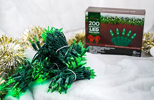 Super Bright LED Home Wedding Christmas Garden Party Decorative String Lights Set - Green - 200-Piece - 54 ft Lighted Length, Connect up to 15 Sets - Indoor / Outdoor Seasonal Mini Pack