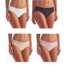 Hi- Cut Underwear Brushed Microfiber With Lace - Ultra Soft Comfort- 4 Pack