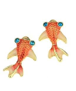 Boucles d'oreille adorable mignon de boucle d'oreille de poisson rouge, boucles d'oreille de bijoux de mode pour le cadeau de fille de femmes