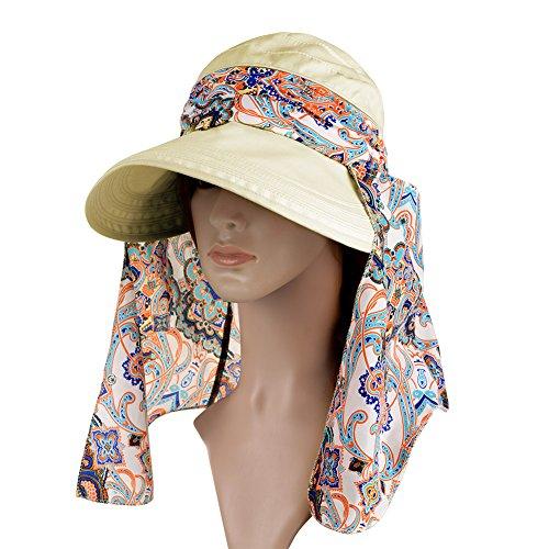 Vbiger Butterfly Knot Sun Wide Brim Visor Floppy Fold Beach Hat (Beige)