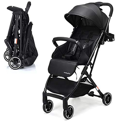 INFANS Lightweight Baby Pram | Folding Baby Stroller with Safe Five-Point Harness and Brake, Adjustable Backrest, Including Footrest, Storage Basket, Cup Holder, Suit for 0-3 Year (Black)