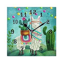 SEULIFE Wall Clock Cartoon Alpaca Llama Cactus Tropical, Silent Non Ticking Clock for Kitchen Living Room Bedroom Home Artwork Gift