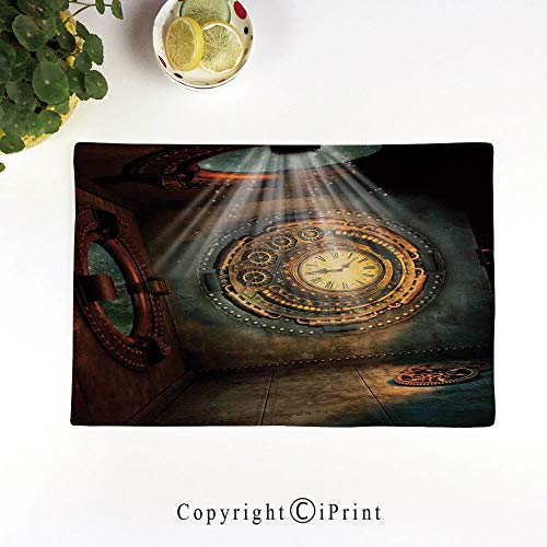 LIFEDZYLJH Placemats Sets Washable Table Mats Cup Linen Mat Heat/Stain Resistant Mats for Dining Table,Fantasy Scene with Clock Dream Sky from The Ceiling Fiction Art Stars,Brown Teal