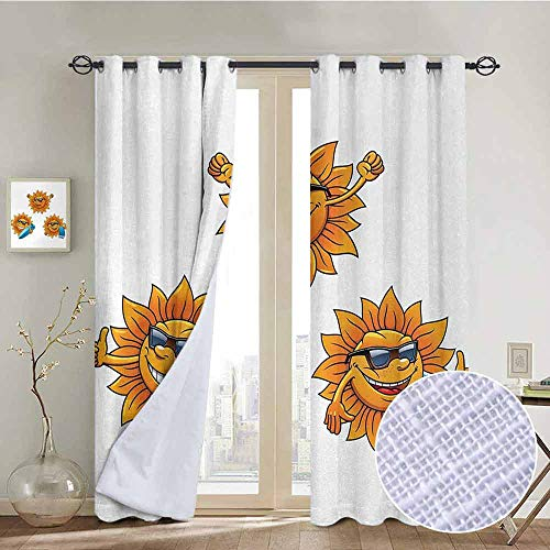 NUOMANAN Customized Curtains Cartoon,Surf Sun Characters Wearing Shades and Surfboards Fun Hippie Summer Kids Decor,Orange White,Blackout Draperies for Bedroom Living Room -