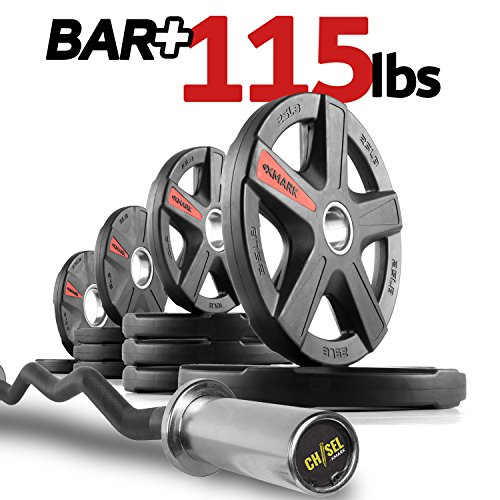 XMark CHISEL Olympic Curl Bar with TEXAS STAR 115 lb. Olympic Plate Weight Set, Notable Quality, Impressive Design, and Impeccable Craftsmanship -