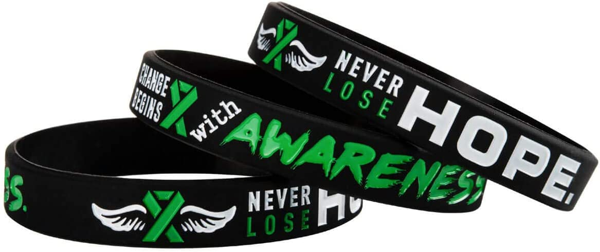Cancer Ribbon Wristband Gift for Patients Sainstone Green Mental Health Awareness Silicone Bracelets with Saying Change Begins with Awareness Family Never Lose Hope Survivors Friends