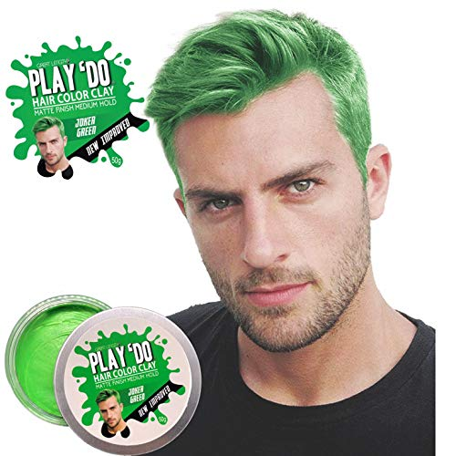 Play 'Do Temporary Hair Color, Hair Wax, Hair Clay, Mens Grooming, Pomade, Green hair dye(1.8 ounces) ...