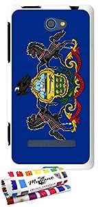 Carcasa Flexible Ultra-Slim HTC 8S de exclusivo motivo [Pensilvania Bandera] [Blanca] de MUZZANO  + ESTILETE y PAÑO MUZZANO REGALADOS - La Protección Antigolpes ULTIMA, ELEGANTE Y DURADERA para su HTC 8S