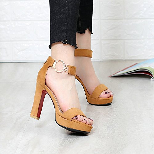 KHSKX yellow In Sandals British Shoes Toe Rome High Heeled Shoes Students 36 Buckle Coarse All With Match Style rwTrFqSp