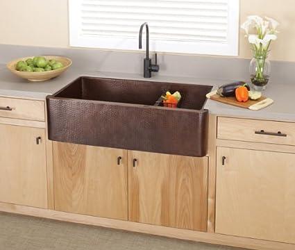 Farmhouse Duet Pro Hand Hammered Copper Kitchen Sink Finish: Antique ...