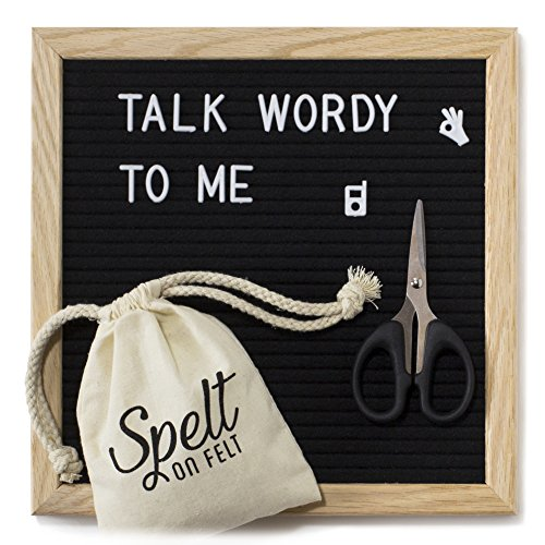 Spelt On Felt Letter Board 10x10 - Black Set - Vintage Oak Frame Decorative Message Board Kit - Changeable Letters - Cute Accessories - Small Square Wooden Boards - Modern Farmhouse Home Decor