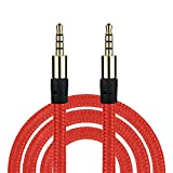 Lywey 3M Braided Male to Male Aux 3.5mm Jack Stereo Audio Cable For Cell PhoneTablet (1M, Red)