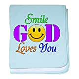 Royal Lion Baby Blanket Smile God Loves You - Sky Blue