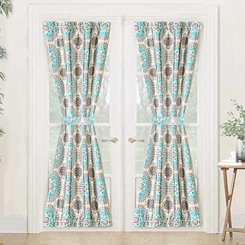 DriftAway Bella Door Curtain Sidelight Curtain Thermal Rod Pocket Room Darkening Privacy French Panel Single Curtain with Bonus Adjustable Tieback 52 Inch by 72 Inch plus 1.5 Inch Header Aqua and Gray