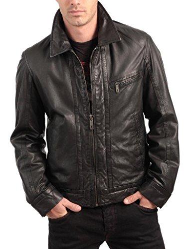 Motorcycle Biker Slim Piel Chaqueta Auk008 De Hombres Negro Fit Chaquetas Abrigo Outwear F4wBI