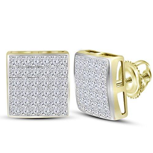 Roy Rose Jewelry 14K Yellow Gold Womens Princess Diamond Square Cluster Stud Earrings 2-Carat tw