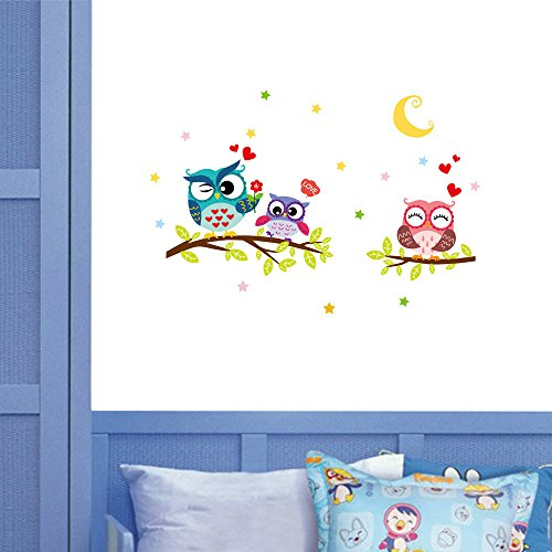 Wall Stickers Waterproof Cartoon Animal Owl Decor Mural Decals