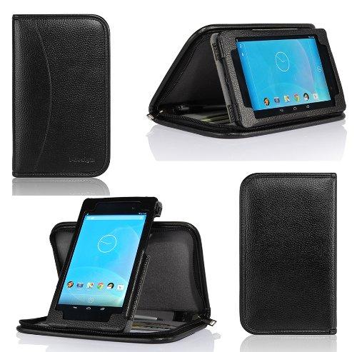 i-design Nexus 7 FHD (2013) Premium Leather Zippered Executive Folio Book Case With Inner Stand (Black)