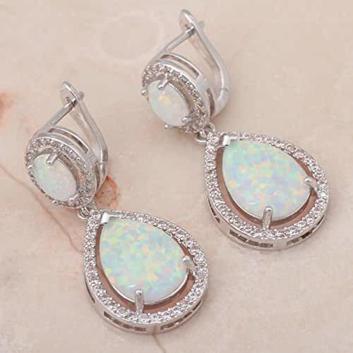 Chokushop Delicate gifts for friends Retail White Fire Opal 925 Silver Drop Earrings Fashionl Jewelry OE279