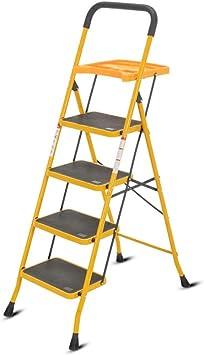 Casa Cuatro Pasos Herramienta Escalera, Ampliación antideslizante del pedal de escalera de tijera Inicio Ingeniería/Diseño multifuncional Bandeja Engrosado (Color : Yellow, Size : 53 * 87 * 141cm): Amazon.es: Bricolaje y herramientas