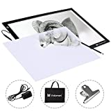 Voilamart A2 Tracing Board Ultra-thin Brightness Adjustable LED Drawing Copy Board Micro Artcraft Animation Drawing Pad Artist Light Box with Cables, Carry Bag, Clamp