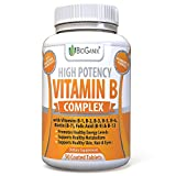 Vitamin B Complex 100 Supplement With Vitamin B12, B1, B2, B3, B5, B6, B7 Biotin & B9 Folic Acid 400mcg - Vegan High Potency Capsules To Boost Energy, Weight Loss, Metabolism, Skin, Hair & Eyes