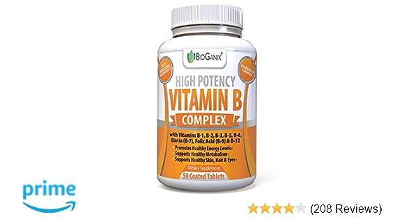 Vitamin B Complex - Vitamin B12, B1, B2, B3, B5, B6, B7 Biotin & B9 Folic  Acid - Vegan and Non-GMO
