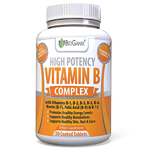 Vitamin B Complex Supplement Made in The USA | with Vitamin B12, B1, B2, B3, B5, B6, B7 Biotin & B9 Folic Acid | Vegan, Non-GMO High Potency Capsules to Boost Energy, Metabolism, Skin, Hair & Eyes