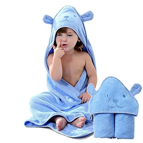 Organic Cotton Fabric Hooded Towel for Kids, Toddler Poncho Towels for Shower Pool Beach Cover Up, 35