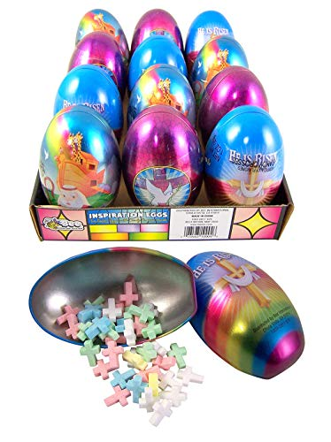 Religious Christian Metal Eggs Prefilled with Candy Crosses, 1 Ounce, Pack of 12