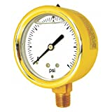 "PIC Gauge 601L-254CC Heavy Duty Glycerin Filled Gauge with Forged Brass Case, 2.5"" Dial Size, 1/4"" Male NPT Connection Size, 30/0/30 psi Range"