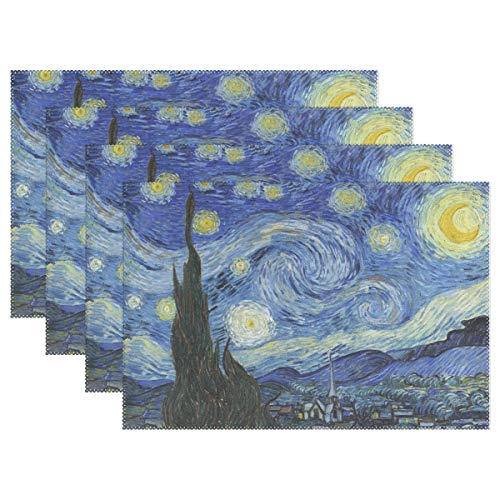 Holisaky Decoration Placemats Set of 6 Van Gogh Starry Night Placemat Dining Table Heat Resistant Non-Slip Kitchen Table Mats Easy to Clean