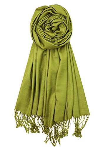 Achillea Bamboo Rayon Feel Soft Silky Pashmina Solid Shawl Wrap Scarf (Olive)