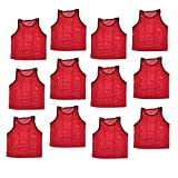 Energi8_blu Set of 12 pcs Scrimmage Vest Vests Pinnies Soccer Youth Red
