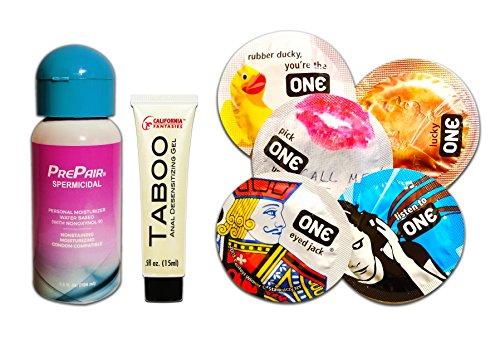 - PrePair Spermicidal Lubricant, Taboo Anal Desensitizing Gel and Premium One Condom Value Pack