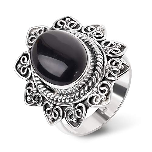 SUVANI Sterling Silver Black Onyx Gemstone Rope Edge Heart Sun Mandala Band Ring Size 7