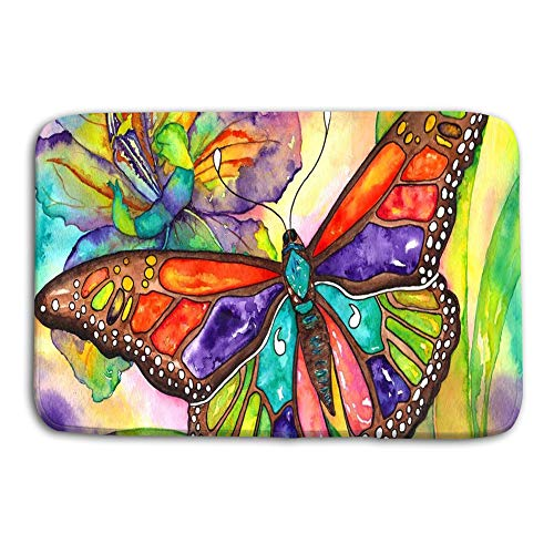(Jieifeosnnxz Doormat Indoor Outdoor Butterfly iris Color Burst Watercolor Hand Painting mat)