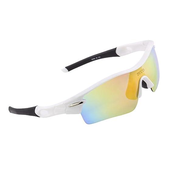 Lunettes de soleil polarisées DUCO Lunettes pour sport, cyclisme avec 5 verres interchangeables 0028 (Blanc)