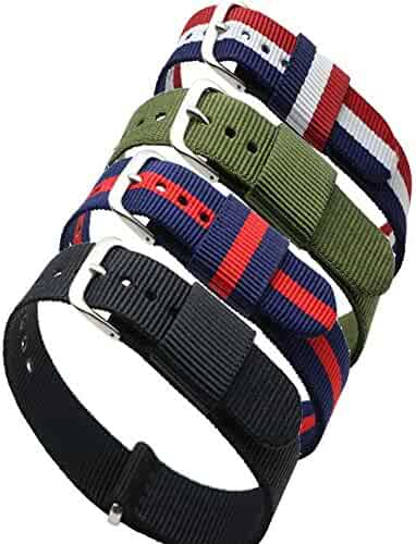 4pc 20mm NATO Ss Nylon Replacement Watch Strap Band