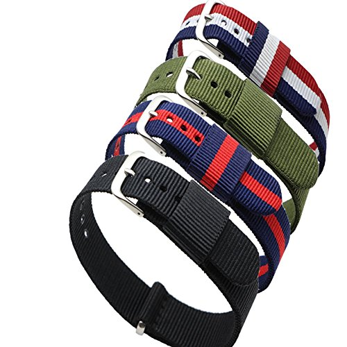 4pc Ritche 20mm Nylon Striped Blue /Red,blue /White/red,black, Army Green Replacement Watch Strap Band