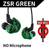 KZ ZSR Six Drivers In Ear Earphone Armature And Dynamic Hybrid Headset HIFI Bass With Replaced Cable Noise Cancelling Earbuds (Without Mic, Green)