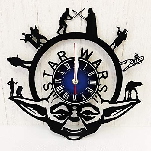Star Wars YODA Wall Clock Made from 12 inches / 30 cm Vintage Vinyl Record | Star Wars Gift Men Boys Husband | Star Wars YODA Clock | Star Wars Merchandise | Luke Skywalker vs Darth Vader