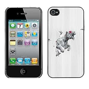 // PHONE CASE GIFT // Duro Estuche protector PC Cáscara Plástico Carcasa Funda Hard Protective Case for iPhone 4 / 4S / Tiger Rose Paloma /