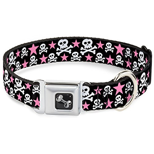 (Dog Collar Seatbelt Buckle Skulls Stars Black White Pink 15 to 26 Inches 1.0 Inch Wide)