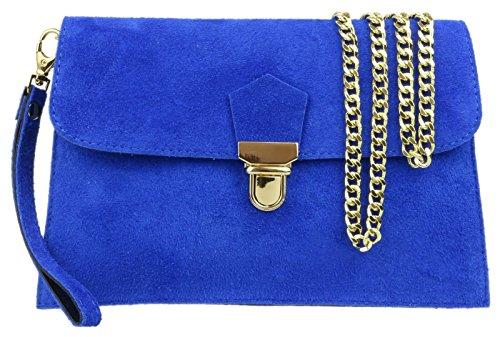 Real De Handbags Azul Girly Cartera Mujer Mano Cuero Aqww04Tx