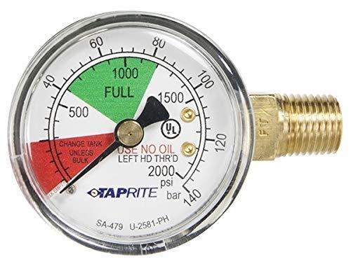 - Taprite Regulator Guage, 0-2000 PSI, Left Hand Thread