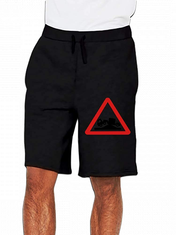 Grounded Lorry Or Truck Stuck On A Hump Within A Red Warning Triangle Mens Casual Shorts Pants