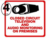 Security Decal - #205 4 Pack Video & Audio CCTV Security Surveillance Camera System Warning Decals Stickers – Commercial Grade . Increase Security whether you have a system or not, no one will know but you!