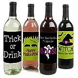 Trick or Treat - Halloween Wine Bottle Labels - Set of 4